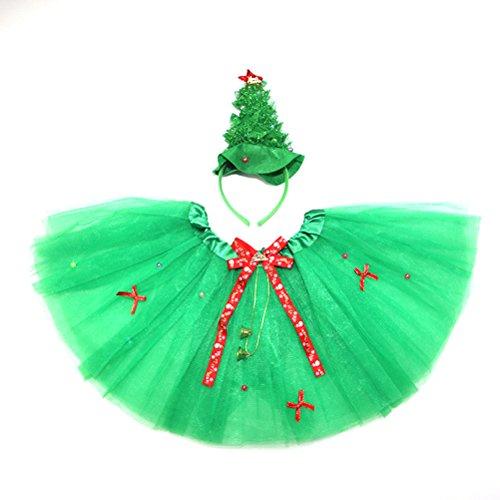 Tinksky Kind-Weihnachtskostüm-Stirnband-Stab-Ballettröckchen-Weihnachtsbaum-Rock-Satz-Winkel-Mädchen-feenhafte Kleid-Ausstattung 2pcs / set (Kostüme Weihnachtsbaum Kleid)
