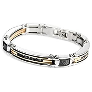 MunkiMix Acier Inoxydable Bracelet Lien Zircon CZ Oxyde de Zirconium d'Argent Or Deux Ton Noir Homme