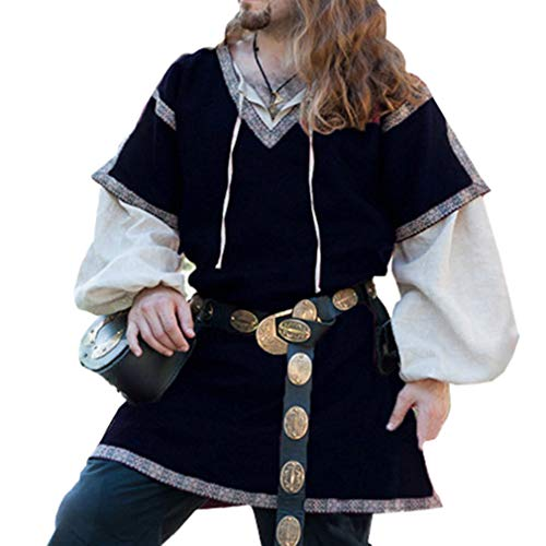 Herren Mittelalter Hemden Set Renaissance Pirat Cosplay Kostüm Männer Karneval Robe + V-Ausschnitt T-Shirt 2 Teile Schwarz Weiß Khaki Beige S M L XL XXL XXXL -