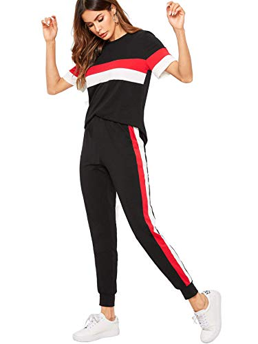 Shocknshop Black Colorblock Red Striped Pullover Tee and Sweatpants Leggings Tracksuit Set for Womens (LEG78)
