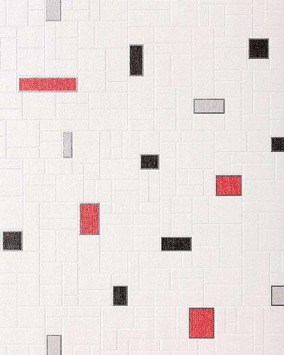 Tapete EDEM 584-26 Vinyl Tapete dekorative Fliesen Kacheln Mosaik-Stein Optik weiß schwarz grau rot ()