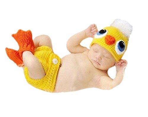 DELEY Unisex Neugeborene Häkeln Stricken Yellow Duck Mütze Hosen Kostüm Baby Fotoshooting Requisiten 0-6 Monate