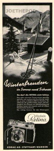 Kodak Alte Kamera (1951 Anzeige / Inserat : KODAK RETINA KAMERA / WINTERFREUDEN - Format 200x70 mm - alte Werbung / Originalwerbung/ Printwerbung / Anzeigenwerbung)