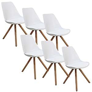 Lot de 6 chaises blanc VELTA PIEDS EN BOIS