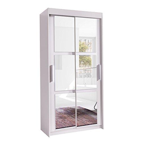 Kleiderschrank Karo 100, Elegantes Schlafzimmerschrank mit Spiegel, 100 x 216 x 60 cm, Modernes Schwebetürenschrank, Schiebetür, Schlafzimmer...