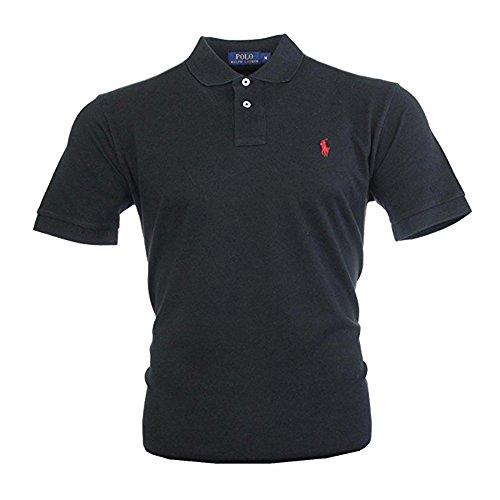 Ralph Lauren Herren Kurzarm Polo Shirt Mesh Fit (Schwarz, XL) -