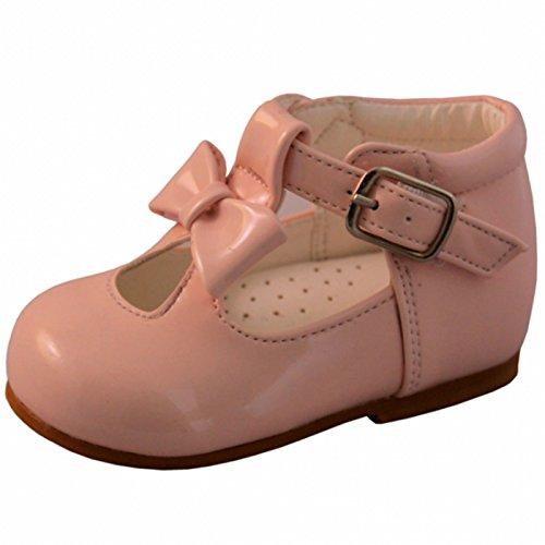 4eb2551e6e61 Sevva Baby Infant Girls Patent First Walking Shoes Bow Trim Spanish Type  Style 21201 Sizes 2
