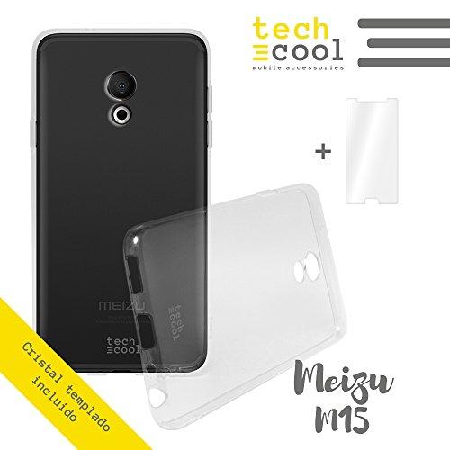 TechCool MEIZU M15 Hülle Set SchutzHülle Premium Soft Flex TPU Silikon Transparent für MEIZU M15 + Panzerglas Schutzfolie 9H l Case, Cover, Handy [Ultra Dünn 1,5mm] [Kratzfest] (Klar)
