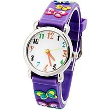 Montre Pédagogique pour Fille 3-8 ans Quartz avec Bracelet en Caoutchouc 3D Motif Cadran Blanc - Violet Papillon