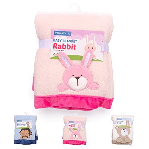 Baby Kuscheldecke mit 3D Tiermotiv Liebvolle Geschenke zur Geburt - Leichte Baby Sommerdecke 80x100 - Verwendbar als Kinderwagendecke, Krabbeldecke (Rosa)