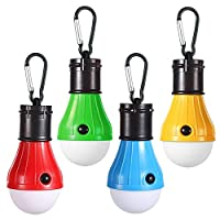 DEEDEEDA (4 Pack) Tent LED Light, Camping Lantern Lamp Battery Powered Waterproof Portable Bulbs for Outside Camping Hiking Hunting Fishing Mountaineering