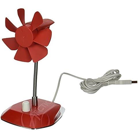 ARCTIC Breeze (Rojo) - Ventilador de escritorio USB con velocidad regulable y cuello flexible