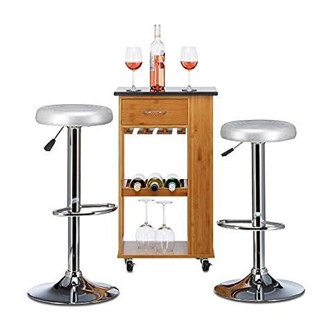 Relaxdays Tabouret de bar BILLIE sans dossier hauteur réglable pivotant rond lot de 2 en similicuir HxlxP: 83 x 32 x 32 cm, gris
