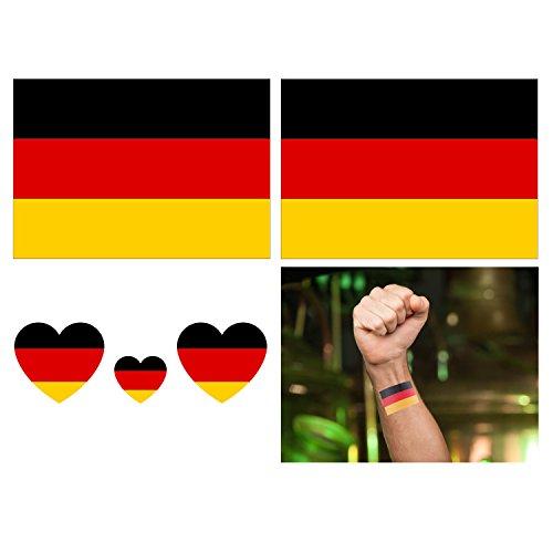fkleber, 16-Pack wasserdicht abnehmbare Tattoos Aufkleber Fake Tattoo einfach anzuwenden und langlebig für Männer Frauen Mädchen und Jungen, Deutschland Flagge ()