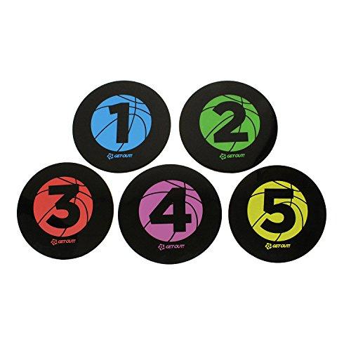 Get Out! Basketball Training Large 22,9cm Zoll Disc Spot Marker 5er Pack-Rund Wohnung nummeriert Court, Poly Vinyl Spots -