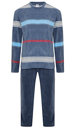 Herren-Pyjama-Set, warmes Fleece-Jersey, Winter, Nachtwäsche Gr. M, Blue (Kavell) (Set Pyjama Fleece)