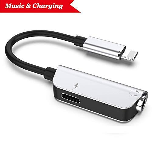 Kopfhöreranschluss für iPhone XR-Adapter Kopfhörer Audio-Splitter und Ladeanschluss für iPhone X / XS max / 7/7 Plus / 8 / 8Plus Unterstützung für Musikhören und Ladehilfe iOS 11.4 System -Sliver thumbnail