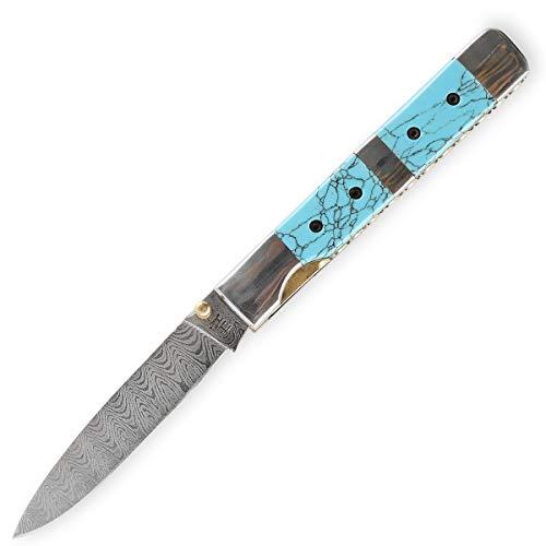 Hobby Hut HH-F02, Damast Taschenmesser Klappmesser Damaststahl Messer Outdoor Damastmesser Folder Knife,Damaskus Jagdmesser, Türkis & Stahlgriff