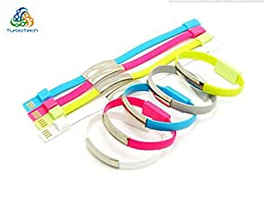 TurboTech Fashion USB 2.0 Charger cable for iphone 5S iphone 6 iPad5 iPad mini Fashion Wrist Cable Bracelet Data Cable 22CM- Colors May Vary.