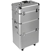 Trolley de Aluminio para el Estudio Móvil de Manicura, Plateado, plata