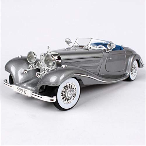 HURONG168 Autos Fahrzeuge Spielzeug Mercedes-Benz 500K-Simulationslegierungsfahrzeugmodell Retro Oldtimer Modellschmuck | Kinderspielzeugauto Jungenrennen | erwachsene metall spielzeug sammlung dekora