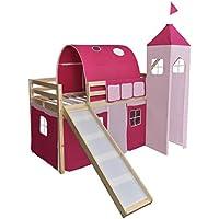 vidaXL Lit Mezzanine pour Enfants avec Toboggan et Echelle Bois Rose