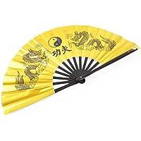 Abánico Tai Chi (Tai Ji Shan) Dragón Dorado - Diestro
