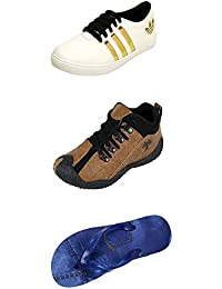 Jabra Perfect Combo Pack Of 2 Shoes- Sneakers And Loafers & Slippers For Men In Various Sizes - B06XTTWL5W