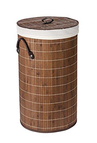 Wenko Bamboo Cesto de ropa sucia de Bambú, Marrón Oscuro, 35x35x60 cm