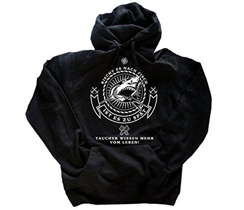 Taucher wissen mehr vom Leben-Riecht es nach Fisch ist es zu spät Hai Kapuzensweatshirt Hoody Schwarz L