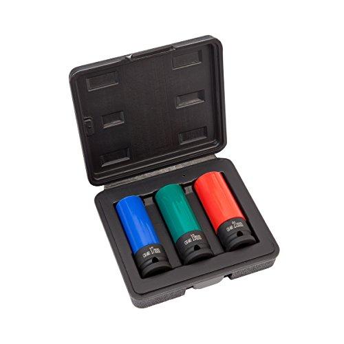 Vasos de impacto con protección 3 uds. para llantas de aluminio 17 mm 19 mm 21 mm | WIESEMANN 80058 | Para llaves de impacto | Juego para llaves de impacto | Insertos de protección | Vaso de impacto | 0,5 pulgadas | en maletín de herramientas