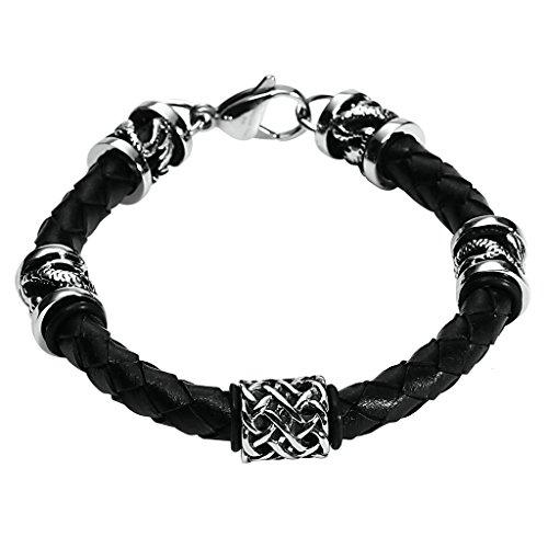 daesar-joyeria-acero-inoxidable-pulsera-hombre-cuero-brazalete-negro-trenzado-plata-pinza-de-langost