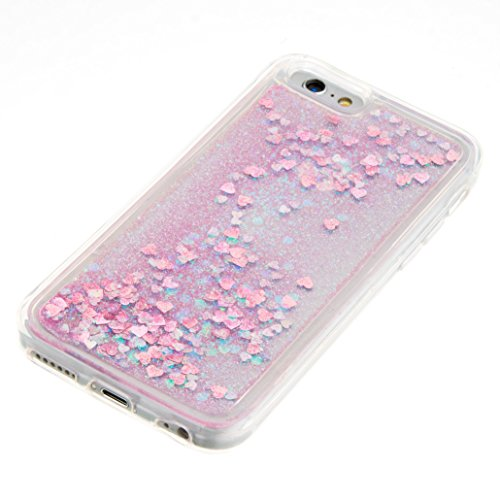 For iPhone 6 4.7[CUTE SPARKLING]Novelty Creative Liquid Glitter Design Liquid Quicksand Bling Adorable Flowing Floating Moving Shine Glitter Case -PURPLE EIFFEL PINK