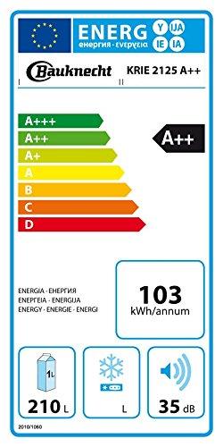 Bauknecht KRIE 2125 A++ Einbau-Kühlschrank/ 103 kWh/ Jahr/ 209L Nutzinhalt/ Leise mit 35 dB/ Nische 122 cm
