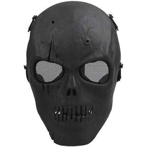 Dansuet Scheletro Airsoft gioco di combattimento Protezione Mask (nero), scheletro maschera per Uomini, Ragazzi - Airsoft Ragazzi Gun