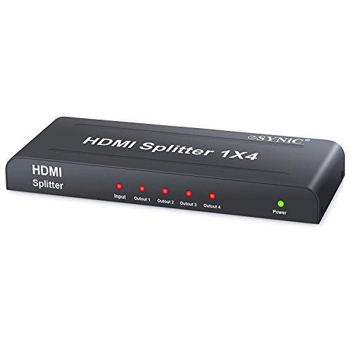 ESYNiC HDMI Splitter Divisor de HDMI 1 Entrada 4 Salidas de Conmutación Inteligente HD 1080P con Fuente de Alimentación EU Plug AC - 3D Amplificador Activo para Poder HDTV PC PS3 Xbox Sky Box STB HDCP