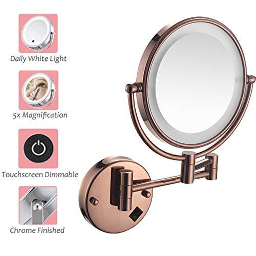 Miroirs de Maquillage Mural LED, 360 ° Horizontal Pivotant et Vertical, Métal en Chromé Loupe 5X et Miroir Plane Ordinaire pour Salle de Bain, Spa et de l'Hôtellerie