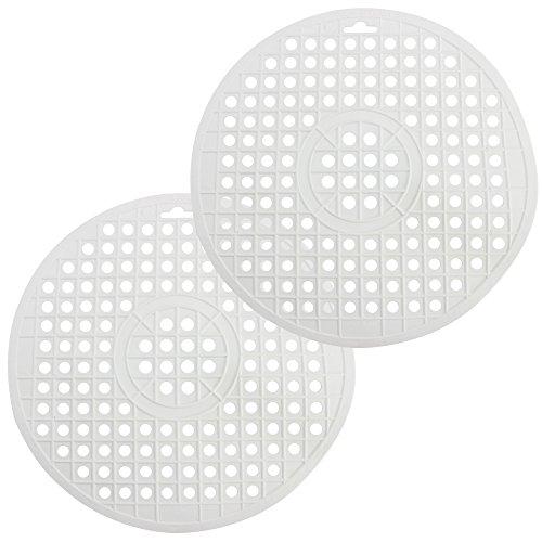 Com-Four ® 2 x Tapis D'évier rond en blanc, Ø 32 cm, réservoir tapis Protège la surface de l'évier et le harnais (Blanc – Lot de 2)