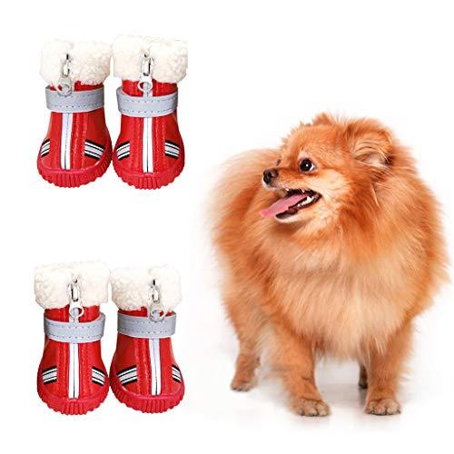 Hony Zapatos de Perro Botas de Perro - Botas para Perros Zapatos Calentar Invierno para Mascotas Impermeable Antideslizante para Perro Mediano Pequeña