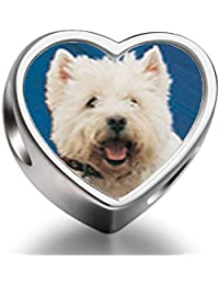 925 Sterling Silver Charms Beads West Highland Terrier Heart Photo Charm Beads Fit Pandora Chamilia Biagi beads Charms Bracelet