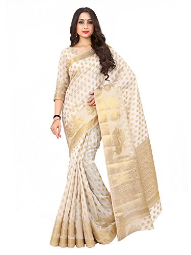 Mimosa By Kupinda Women's Art Silk Saree Kanjivaram Style Color : Off White (4171-176-SD-OFFWHT)