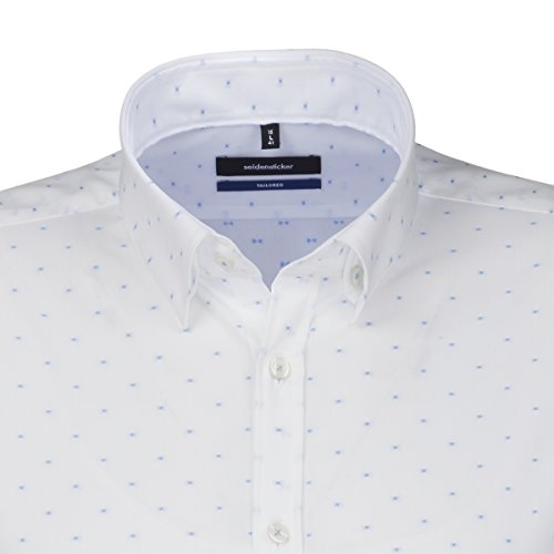 SEIDENSTICKER Herren Hemd Tailored 1/1-Arm Bügelfrei Karo City-Hemd Button-Down-Kragen Kombimanschette weitenverstellbar blau (0010)