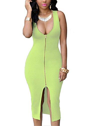 YMING Damen Figurbetontes Partykleider Reißverschluss Vorne Rund Ausschnitt Sexy Minikleid Übergröße,Grün,XXXXL/DE 48-50