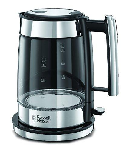Russell Hobbs 23830-70 Wasserkocher Elegance, 2200 Watt, 1.7l, hochwertiger Glas-Wasserkocher, blaue Beleuchtung, Edelstahl/Glas