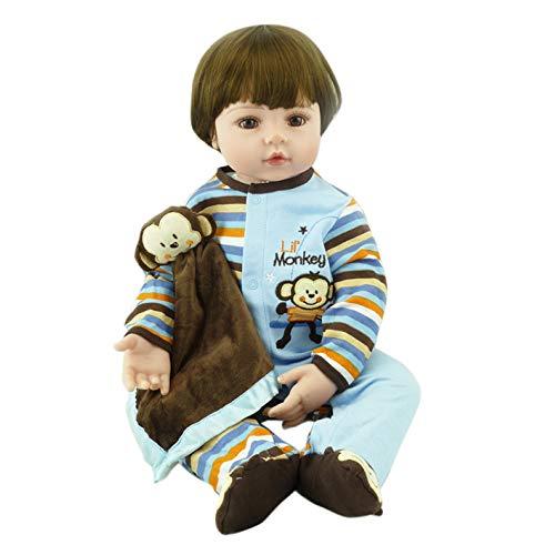 YIHANGG Silikon Vinyl 23 Zoll 60 cm Reborn Babypuppen Realistischer Look Echte Weiche Reborn Kleinkind Lebensechte Aussehende Neugeborene Puppen Baby Mädchen Spielzeug (Mädchen Süß Aussehendes)
