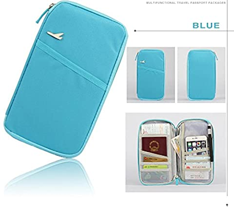 FuSon Travel Double-Headed Zipper Package, Multi-Function Card Package, carte d'identité, passeport, Bank Card Collection Package-Passport Bag Multi Multifunction Wallet