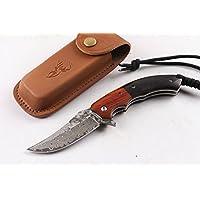CHENPK04894 Palo de rosa y ébano Cuchillo plegable hecho a mano de acero de Damasco