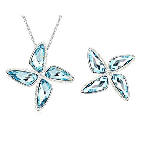 Aooaz Femmes Alliage Bijoux Parures 4Pétale Fleur Boucle d'oreilles Pendentif Collier Engagement Partie Bleu Marine