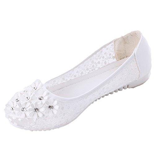 Lalang Damen Ballerinas Blumen Stylische Strass Schuhe Flats (38 EU, Weiß)