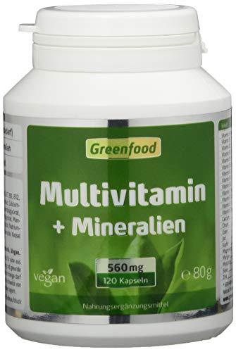 Multivitamin + Mineralien, 560 mg, hochdosiert, 120 Vegi-Kapseln - alle wichtigen Vitamine (Tagesbedarf), Mineralien und Spurenelemente. Mit hoher Bioverfügbarkeit. OHNE künstliche Zusätze. Vegan.